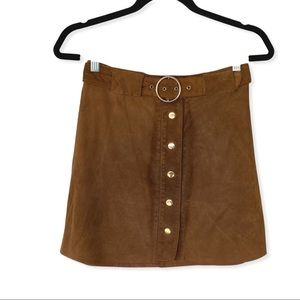 Zara Woman Brown Pig Leather Belted Mini Skirt